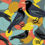 Black birds on the colorful autumn leaves. Seamless pattern. Vector illustration on grey background. Hand drawn black birds on the colorful autumn leaves stock illustration
