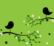 Black birds. Illustration of two black birds on a branch Stock Image