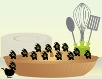 Black birds in a pie. Black birds baked into a pie in front of dishes and cooking utensils stock illustration