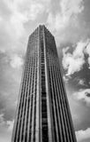 Black Black and White Colpatria Tower Building in Downtown Bogota - Bogota, Colombia. BOGOTA, COLOMBIA - Aug, 2016: Black and White Colpatria Tower Building in Royalty Free Stock Photography