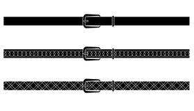 Black and black-white designed vectors belt. Vectors - belts three differnt designs vector illustration