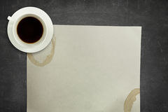 Black blackboard background with coffee cup and Royalty Free Stock Photography