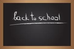 Black blackboard with chalk inscription. Back to school. Inscription on black chalkboard royalty free illustration
