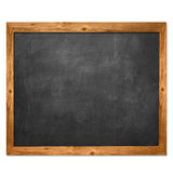 Black blackboard and yellow wood lace. In school royalty free stock image