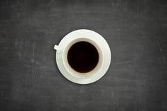 Black blank blackboard with coffee cup Stock Photos