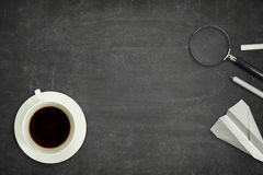Black blank blackboard with coffee cup Royalty Free Stock Photography