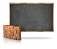 Black blank blackboard with 3D brick wall Stock Images