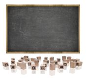 Black blank blackboard with wooden frame and block Stock Photos