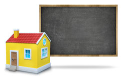 Black blank blackboard with wooden frame and 3d Royalty Free Stock Photo