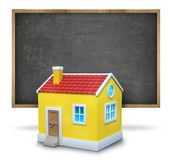 Black blank blackboard with wooden frame and 3d Stock Image