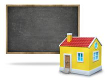 Black blank blackboard with wooden frame and 3d Stock Photos