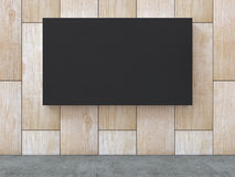 Black blank canvas on wood pattern wall with concrete floor background. 3D rendering. royalty free illustration