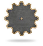 Black blank cogwheel shape blackboard with wooden Royalty Free Stock Photography