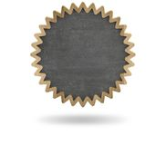 Black blank cogwheel shape blackboard with wooden Royalty Free Stock Photo