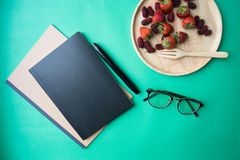 Black blank cover notebook Royalty Free Stock Photo