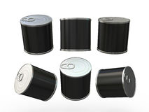 Black blank food  tin can  with pull tab, clipping path included. General can  packaging  with white blank label  for variety food product ,ready  for  your Royalty Free Stock Images