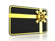 Black blank gift card, with golden ribbon. Side view Stock Photo