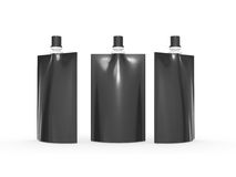 Black blank juice  bag packaging with spout lid, clipping path i Royalty Free Stock Image