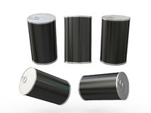 Black blank label tin can packaging with pull tab, clipping path Royalty Free Stock Image