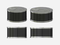 Black blank label tin can set with pull tab, clipping path inclu Stock Photography