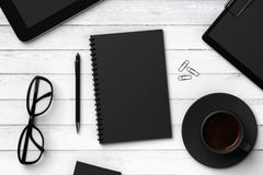 Black blank notebook and accessories Royalty Free Stock Image
