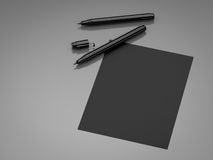Black blank paper with black pens. 3d rendering black blank paper with black pens Stock Image
