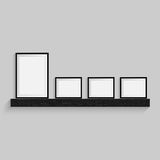 Black blank picture. Frame template poster. Picture frame set. Vector Stock Images