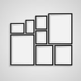 Black blank picture. Frame template poster. Picture frame set. Vector Stock Photo