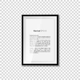 Black blank picture  on transparent wall. Frame template poster. Picture frame set. Vector. EPS10 Stock Photos