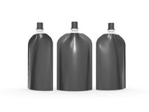 Black blank stand up  bag packaging with spout lid, clipping pat Royalty Free Stock Images