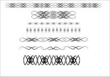 Black on blck on white. Black ornate separators and borders for stationery Stock Image