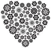 black blommar hjärta gjord white Arkivfoton