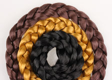 Black,blond and brown hair braid Royalty Free Stock Photos