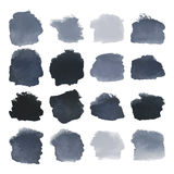Black blots watercolor set. Vector Set of dark black watercolor blots hand painted texture elements isolated on white. Abstract collection of brush splash vector illustration