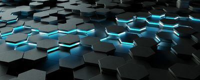Black and blue hexagons background pattern 3D rendering. Black and blue abstract hexagons background pattern 3D rendering Royalty Free Stock Photos