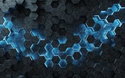Black and blue hexagons background pattern 3D rendering. Black and blue abstract hexagons background pattern 3D rendering Royalty Free Stock Photography
