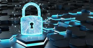 Black and blue padlock icon on hexagons background 3D rendering. Black blue abstract padlock icon on hexagons background 3D rendering Royalty Free Stock Image