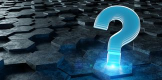 Black and blue question icon on hexagons background 3D rendering. Black blue abstract question icon on hexagons background 3D rendering Stock Photography