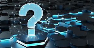 Black and blue question icon on hexagons background 3D rendering. Black blue abstract question icon on hexagons background 3D rendering Royalty Free Stock Photography