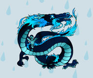Black-blue Asian water dragon against drops. Black-blue Asian water dragon against water drops Stock Photography