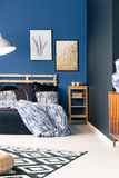 Black and blue bedroom royalty free stock images
