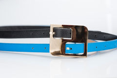 Black blue belt with double buckle Stock Photography