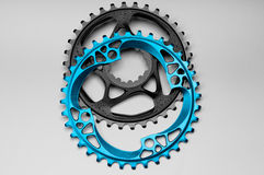 Black and Blue Bicycle chainring Stock Photo
