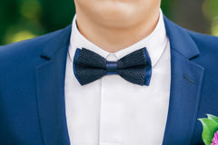 Black-and-blue bow-tie on grooms neck Stock Photos