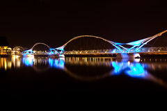 Black and Blue Bridge at Night stock photography