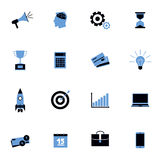 Black and blue business icons flat set. With finance strategy idea symbols isolated vector illustration Stock Images