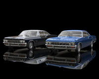 Black and blue classic muscle cars on black Royalty Free Stock Photo