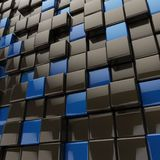 Black and blue cubes with rounded edges. 3D background. 3D rendering Stock Photos