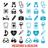 Black and blue flat medical icons set Stock Photos