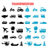 Black and blue flat transportation icons Stock Image